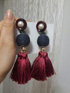 Beaded Tassel Earrings, Feather Earrings, Pearl Earrings, Hoop Earrings, Thread Jewellery, Wire Jewelry, Jewelery, Fashion Accessories, Handmade