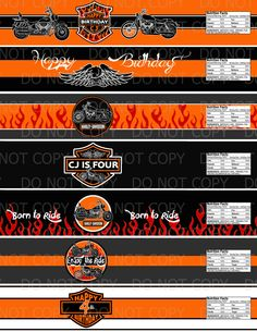 Harley Davidson Birthday Party Water bottle labels