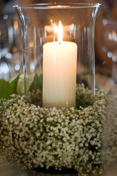 Guest table #2. add 1 lace wrapped mason jar with flowers. votives. on trunk.  Pride and Prejudice wedding center pieces.