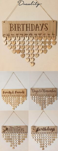 73% OFF. Birthday Calendar DIY Wooden Reminder Board. #dresslily #calendar #diy