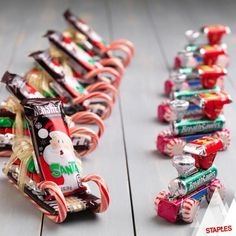 DIY Candy Santa Sleighs - 12 Wondrous DIY Candy Cane Sleigh Ideas That Will Leave Your Kids Open-Mouthed (christmas goodies diy) Christmas Candy Crafts, Homemade Christmas Gifts, Christmas Goodies, Holiday Crafts, Class Christmas Gifts, Snowman Crafts, Candy Cane Crafts, Christmas Candy Cane Decorations, Christmas Classroom Treats