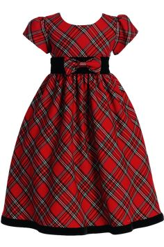 A Classic Red & Green Plaid Girl's Christmas Holiday Dress with Short Cap Puff Sleeves, Black Velvet Waist, Removable Front Waist Bow, Plaid Tie Back Sash and Velvet Hem. Girls Sizes: 4T, 5, 6, 7, 8,