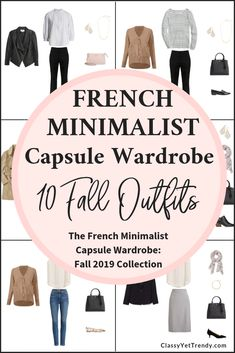 The French Minimalist Fall 2019 Capsule Wardrobe Preview 10 Outfits - Classy Yet Trendy - France inspired outfits for your closet includes a tee, striped t-shirt, sleeveless top, cardigan, blazer, leather jacket, pants, jeans, skirt, flats, loafers and booties. #frenchoutfit #frenchstyle #capsulewardrobe #capsulecloset #fallstyle #fallfashion #outfitinspiration