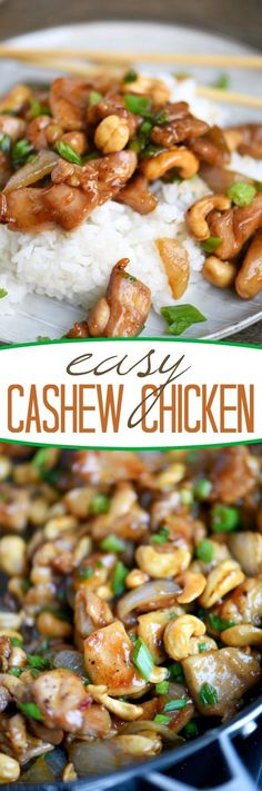 Love quick and easy dinner recipes? This one is for you! This Easy Cashew Chicken takes less than 30 minutes to make and is way better than takeout! Add it to your menu this week! // Mom On Timeout #chicken #dinner #recipe #easy #momontimeout