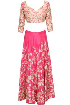 Pink and gold floral embroidered lehenga set available only at Pernia's Pop Up Shop..#perniaspopupshop #shopnow #clothing#festive #newcollection #ZORAYA#happyshopping