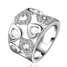 Stunning Silver Multiple Hearts Ring with Crystals