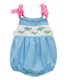 f5171875a758 Love this Blue Sea Turtle Smocked Bubble Romper - Infant on  zulily!   zulilyfinds