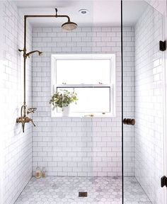 Bathroom decor for your master bathroom remodel. Discover master bathroom organization, bathroom decor suggestions, master bathroom tile some ideas, master bathroom paint colors, and much more. Bathroom Renos, Bathroom Flooring, Bathroom Renovations, Modern Bathroom, Bathroom Makeovers, White Subway Tile Bathroom, Bathroom Cabinets, Design Bathroom, Bath Design