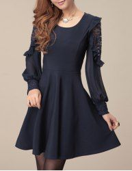 $13.96 Modern Style Solid Color Lace Splicing Ruffles Long Sleeves Scoop Neck Dress For Women