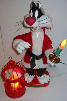 Vtg WB Looney Tunes Christmas SYLVESTER & TWEETY BIRD Light Animatronic Figures  #WarnerBros
