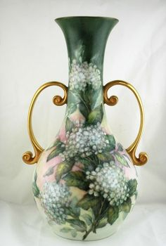 Hand Painted Porcelain Vase with Roses by Margaret Surber from seasideartgallery on Ruby Lane