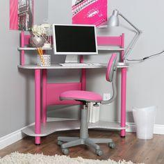 girls Computer Corner Desks | Furniture For Girl Bedroom Design Ideas With Pink And Silver Desk ...