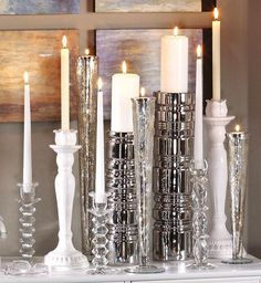 Candlesticks. Another combo of crystal, silver & white, love it❤❤❤❤❤
