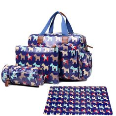58.00$  Watch here - http://ali3tm.worldwells.pw/go.php?t=32685963020 - Women Dog print  Oilcloth Maternity Changing Bag Satchel Large Handbag Tote composite bag crossbady bags