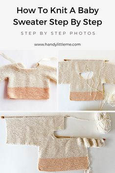 This baby sweater knitting pattern is knit in one piece on straight needles, making this a great beginner knitting project. The sweater pattern has step by step photographs to help you through each section of the free pattern. Free Baby Sweater Knitting Patterns, Knitted Baby Cardigan, Knit Baby Sweaters, Knitting Designs, Knit Baby Patterns, Free Knitting, Baby Jumper, Baby Knits, Knitting Projects
