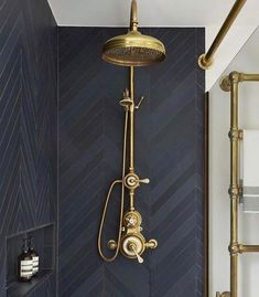 Urban Townhouse Case Study / Drummonds Bathrooms Shower with dark grey tiling and brass shower head and taps Bad Inspiration, Bathroom Inspiration, Bathroom Inspo, Bathroom Styling, Brass Shower Head, Shower Heads, Hotel Decor, Budget Bathroom, Bathroom Remodeling