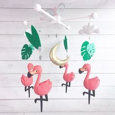 Excited to share this item from my shop: Flamingo Traditional Mobile Flamingo Nursery, Tropical Nursery, Driftwood Mobile, Nursery Themes, Nursery Ideas, Felt Mobile, All The Colors, How To Draw Hands, Crafty