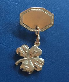 VINTAGE 1950's 4-H Club LAPEL PIN with Clover Shamrock Logo