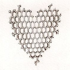 """t-odell: """" [above: radeo suicides honeycomb heart tattoo] another two for the 'hive mind' idea … honeycomb heart, by tracy yarkoni odell, pencil on watercolor paper] The honeycomb as related to. Girly Tattoos, Pretty Tattoos, Tribal Tattoo Designs, Tribal Tattoos, Beehive Drawing, Honeycomb Tattoo, Throat Tattoo, Bee Tattoo, Bee Crafts"""
