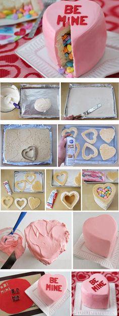 Conversation Heart Piñata Cake | Easy Valentines Day Treats to Make
