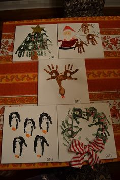 handprint art-tree, santa, reindeer, penguin and wreath