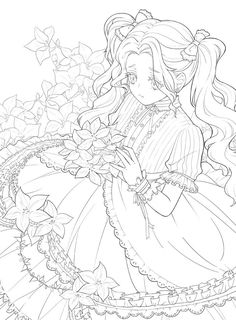 Coloring Pages For Girls, Cute Coloring Pages, Children Coloring Pages, Free Coloring, Manga Coloring Book, Coloring Books, Coloring Sheets, Lineart Anime, Secret Garden Coloring Book