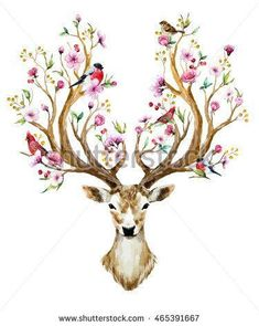 watercolor vector illustration isolated deer, big antlers, flowers and birds on the horns, branches cherry flowering plant,Bird red cardinal, bird bullfinch #flowersplantsillustration