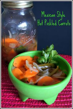 Mexican Style Hot Pickled Carrots 3 large carrots, very thinly sliced on the diagonal 1 medium onion, very thinly sliced 12 oz. can sliced jalapeño peppers 1 tsp Mexican oregano 5 cloves garlic, peeled and left whole 1 bay leaf 1 tsp salt 1 tsp black pepper 1/4 cup vegetable oil