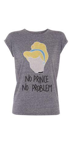 """Mon top il est tip top ! Haut de pyjama à manches courtes gris chiné avec tête de Cendrillon et print """"NO PRINCE NO PROBLEM""""."""