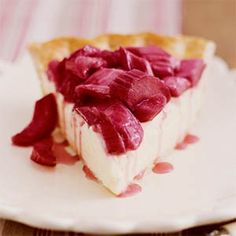 Rhubarb-Lemon Cream Pie | MyRecipes.com  Ill have to do this with my G.F. crust I already have in the freezer!
