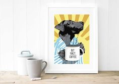 A4 Coffee Black Labrador POP ART Giclee Fine Art print £19.50
