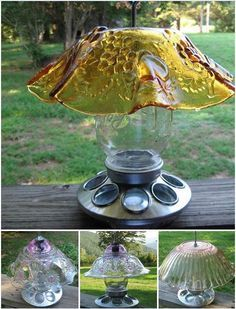 repurposed glass bowl bird feeders - Google Search