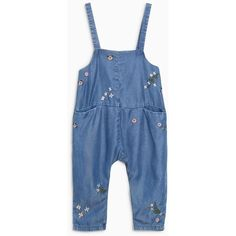 Mid Blue Floral Embellished Denim Long Leg Playsuit (3mths-6yrs) (€15) ❤ liked on Polyvore featuring jumpsuits, rompers, blue romper, denim romper, long-sleeve romper, blue rompers and denim rompers