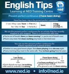 English Tips at NED Training Centre. Present Perfect Continuous (I have been doing). info@ned.ie www.ned.ie