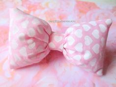 Pastel Pink White Hearts Chubby Fluffy Bow