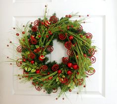 Red and Green Wreath * Christmas Wreath * Holiday Wreath * Whimsical Wreath * Christmas Decor * Holiday Decor * Elegant Front Door Wreath by englishrosedesignsoh on Etsy