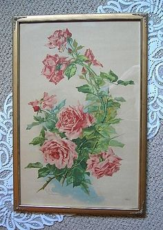 Pink Cabbage ROSES Print Catherine Klein  c1890s Chromolithograph Antique Victorian Half Yard Long