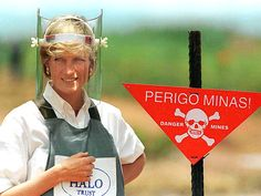 """The Princess famously donned a flak jacket and a face shield while touring an Angolan mine field, on behalf of the Red Cross, on Jan. 15, 1997. Diana later said that land mines – and the destruction they cause – is """"something to which the world should urgently turn its conscience."""""""