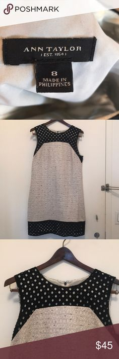 Ann Taylor Twead Dress Black and cream colored. Great condition. Ann Taylor Dresses Midi