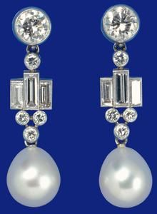 Pair of pearl drop earrings, c.1947 wedding present to Princess Elizabeth from the Sheikh of Bahrain