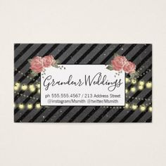 Elegant Flowers / Speckled Chalk / Night Lights Business Card - diy cyo customize create your own #personalize