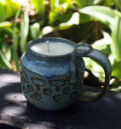 Stoneware Ceramic Cup Natural Soy Wax Candle by BigBearPottery, $36.00