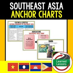 Geography Southeast Asia 55 Anchor Charts (Great as Bellringers, Word Walls, and Concept Boards)Anchor charts are great for representing the topics covered with bright and clear visuals. These could be printed 2 or 4 to a page and students could answer question by scavenging through them.