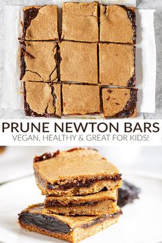 Healthy Prune Newton Bars A quick and healthy snack recipe. If you like fig newtons, then you will LOVE this healthy homemade version made with prunes! Lightly sweetened and vegan, perfect for kids. Healthy Dessert Recipes, Healthy Snacks, Snack Recipes, Vegan Recipes, Vegan Foods, Cake Recipes, Prune Recipes, Fig Newtons, Savoury Cake