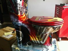 Vehicular Furnishings and Automotive Decor. What a cool commode for a mans cave. Car Furniture, Automotive Furniture, Automotive Decor, Rat Rods, Car Part Art, Man Cave Items, Man Cave Garage, Custom Photo, Custom Paint