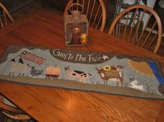 """""""Goin' to The Fair """" Primitive Hooked Rug Hooking Pattern 2011 NYS Fair Winner Rug Hooking Kits, Rug Hooking Patterns, Rug Patterns, Monks Cloth, Punch Needle Patterns, Primitive Fall, Hand Hooked Rugs, Penny Rugs, Antique Quilts"""