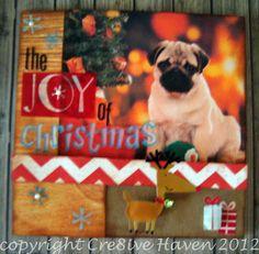 Handmade Pug card: Early Christmas
