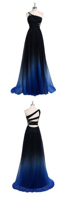 One Shoulder Sexy Prom Dress,Dark Blue Prom Dresses