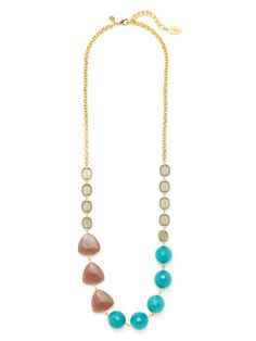 David Aubrey Gold, Dyed Jade, & Glass Necklace