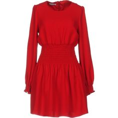 Dondup Short Dress ($289) ❤ liked on Polyvore featuring dresses, brick red, red zip dress, long sleeve short dress, short red dress, mini dress and zipper mini dress